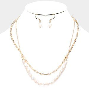 Freshwater Pearl Statement Chain Layered Necklace